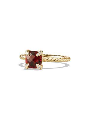 David Yurman ChÂTelaine® Ring With Gemstone And Diamonds In 18K Gold In Garnet