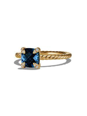 David Yurman ChÂTelaine® Ring With Gemstone And Diamonds In 18K Gold In Hampton Blue Topaz