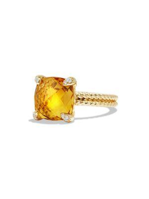 David Yurman ChÂTelaine Ring With Citrine And Diamonds In 18K Gold