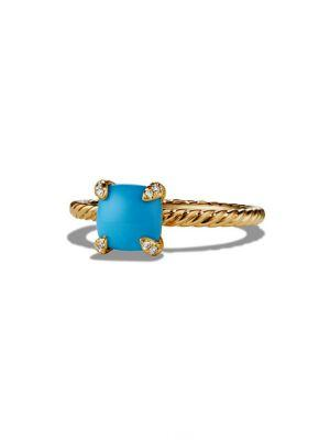 David Yurman ChÂTelaine® Ring With Gemstone And Diamonds In 18K Gold In Turquoise
