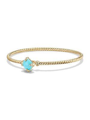 David Yurman Chatelaine Bracelet With Turquoise And Diamonds In 18K Gold