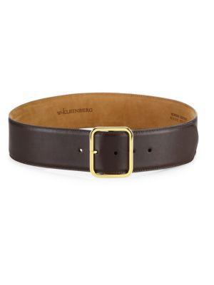 W. Kleinberg Goldtone Leather Buckle Belt In Brown