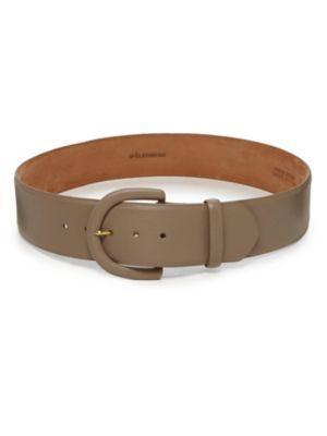 W. Kleinberg Contoured Leather Belt In Beige