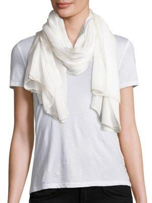 Bajra Crochet-Border Modal Scarf In White