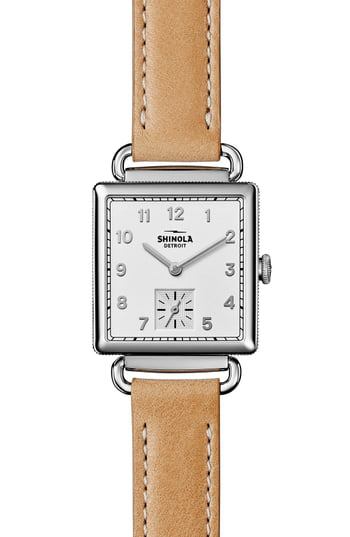 Shinola The Cass Stainless Steel & Leather Strap Watch In Beige/ Silver
