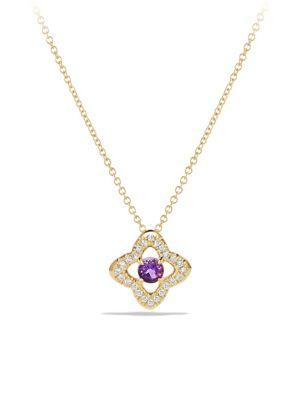 David Yurman Venetian Amethyst & Diamond PavÉ Quatrefoil  Pendant Necklace