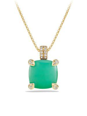 David Yurman Chatelaine Pendant Necklace With Chrysoprase And Diamonds In 18K Gold In Chrysoprase Cabochon