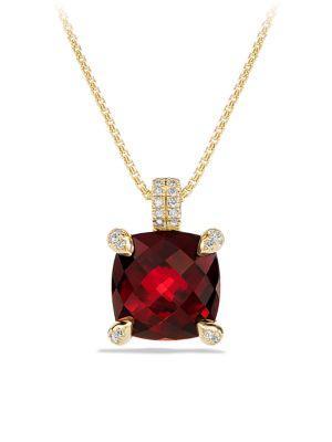 David Yurman ChÂTelaine Pendant Necklace With Hampton Blue Topaz And Diamonds In 18K Gold In Garnet
