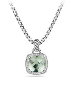 David Yurman Albion Pendant With Faceted Dome And Diamonds In Prasiolite