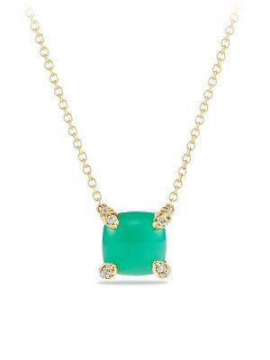 David Yurman ChÂTelaine® Pendant Necklace With Gemstone And Diamonds In 18K Gold In Chrysoprase Cabochon