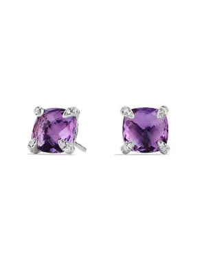 David Yurman ChÂTelaine® Earrings With Gemstones And Diamonds In Purple/Silver