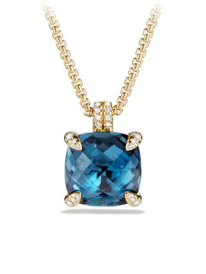 David Yurman Chatelaine Pendant Necklace With Hampton Blue Topaz And Diamonds In 18K Gold