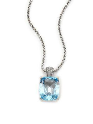 John Hardy Classic Chain Diamond, Blue Topaz & Sterling Silver Pendant Necklace