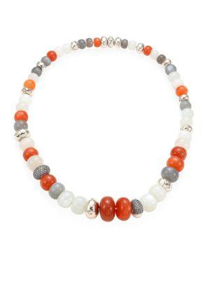 John Hardy Bamboo Grey Diamond, Multicolor Moonstone & Sterling Silver Necklace