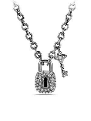 David Yurman Petite Lock And Key Charm Necklace With Diamonds In Silver