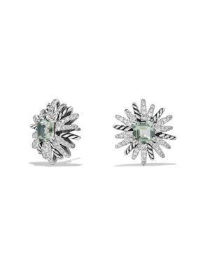 David Yurman Starburst Earrings With Diamonds And Prasiolite In Silver