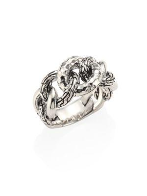 John Hardy Classic Chain Small Hammered Sterling Silver Link Ring