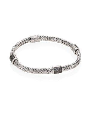 John Hardy Classic Chain Extra Small Grey Sapphire & Sterling Silver Four-Station Bracelet