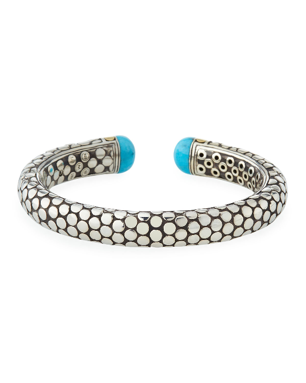 John Hardy Dot Small Turquoise, Sterling Silver & 18K Yellow Gold Kick Cuff In Blue