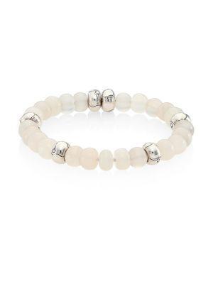 John Hardy Bamboo White Moonstone & Sterling Silver Bead Bracelet