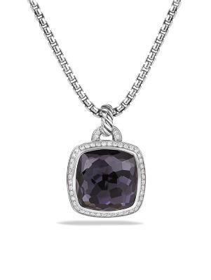 David Yurman Albion Pendant With Black Orchid & Diamonds In Purple/White