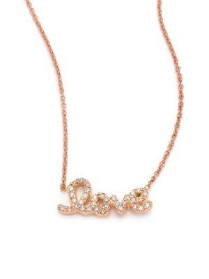 Roberto Coin Tiny Treasures Diamond & 18K Rose Gold Love Letter Necklace