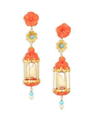 Of Rare Origin Aviary Classic Coral, Turquoise, Bone & Freshwater Pearl Drop Earrings
