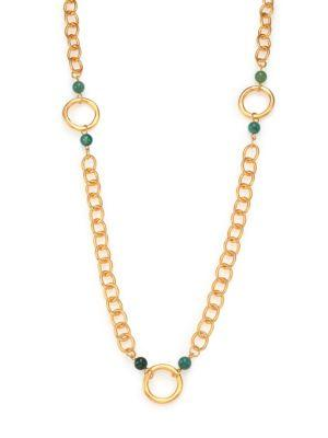 Stephanie Kantis Infinity Green Moss Agate Beaded Station Necklace In Gold-Green