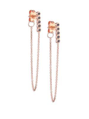 ZoË Chicco Black Diamond & 14K Rose Gold Front Back Earrings