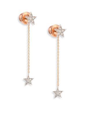 Kismet By Milka Two-Star Diamond & 14K Yellow Gold Drop Earrings In White