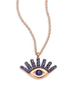 Kismet By Milka Evil Eye Blue Sapphire & 14K Rose Gold Pendant Necklace