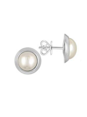 Majorica 8Mm Mabe Pearl And Sterling Silver Stud Earrings