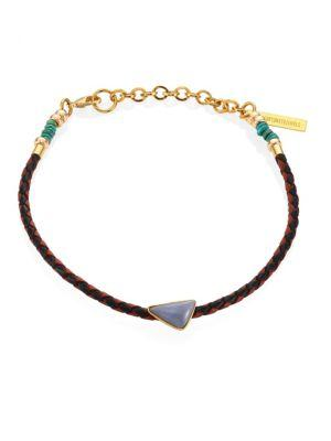 Lizzie Fortunato Cowgirl Angelite, Turquoise & Leather Choker In Brown