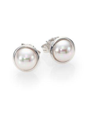 Majorica 8Mm Mabe White Pearl & Sterling Silver Bezel Stud Earrings