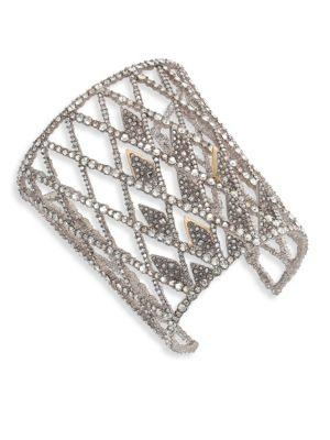 Alexis Bittar Crystal-Encrusted Spiked Lattice Cuff Bracelet In Silver