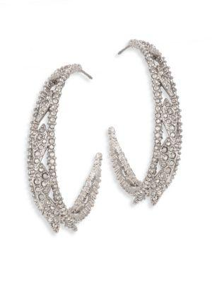 "Alexis Bittar Crystal-Encrusted Spiked Lattice Hoop Earrings/1.5"" In Silver"