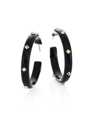 """Alexis Bittar Golden Studded Lucite Hoop Earrings/2"""" In Black"""