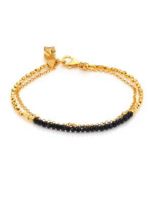 Astley Clarke Biography Black Spinel Beaded Friendship Bracelet In Gold-Black