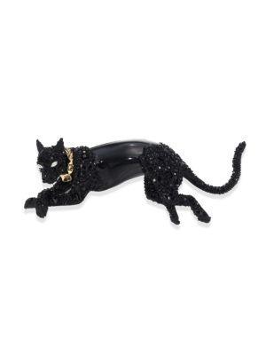 Alexis Bittar Crystal & Lucite Jaguar Brooch In Black