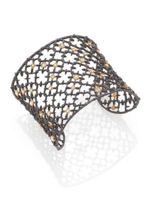 Alexis Bittar Elements Muse D'Ore Crystal Two-Tone Studded Lace Cuff Bracelet In Silver