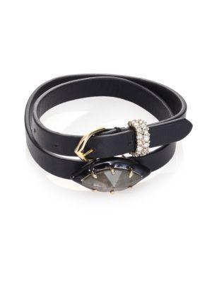 Alexis Bittar Crystal & Leather Wrap Bracelet/Choker In Black