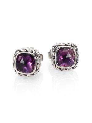 John Hardy Classic Chain Sterling Silver Stud Earrings In Amethyst