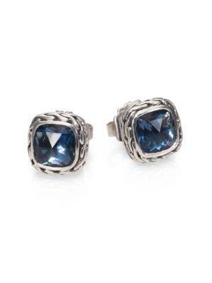 John Hardy Classic Chain Sterling Silver Stud Earrings In London Blue Topaz
