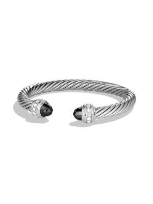 David Yurman Cable Classics Bracelet With Diamonds In Hematite