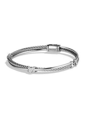 David Yurman X Crossover Bracelet With Diamonds In Silver