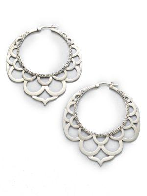 John Hardy Naga Sterling Silver Large Lace Hoop Earrings