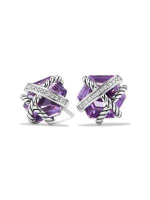 David Yurman Cable Wrap Earrings With Gemstone & Diamonds In Amethyst