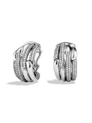 David Yurman Labyrinth Double-Loop Earrings With Diamonds In Silver