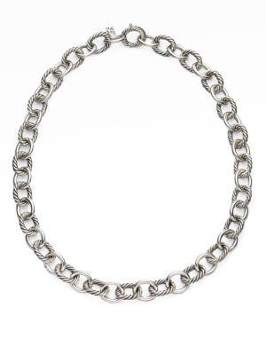 David Yurman Oval Large Link Necklace In Silver
