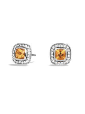 David Yurman Petite Albion Earrings With Citrine And Diamonds In Silver